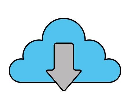 cloud storage data technology download information vector illustration Illustration