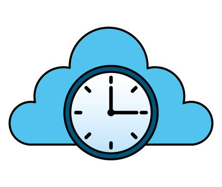 cloud storage clock time work image cloud storage clock time work image  イラスト・ベクター素材