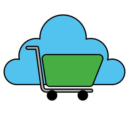 cloud storage shopping cart market store vector illustration