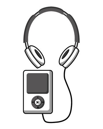 Music player with headphone vector illustration design Illustration