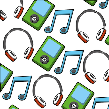 Music player with headphone and note pattern vector illustration design