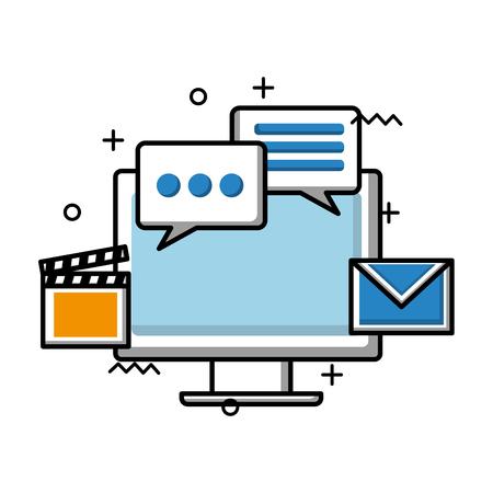 Tecnología de monitor de computadora con diseño de ilustración de vector de iconos de redes sociales
