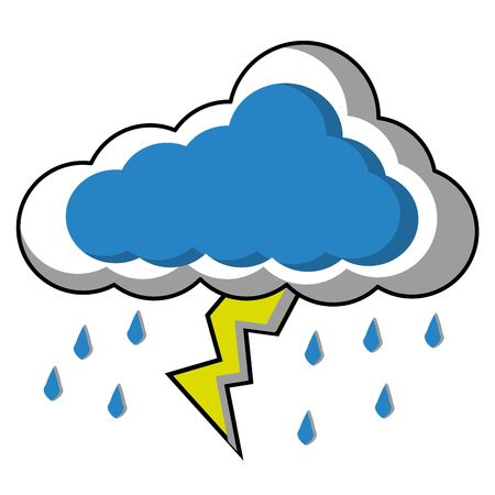 Cloud sky with thunder and rain drops weather vector illustration design