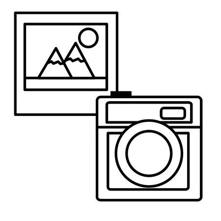Camera photographic with picture vector illustration design Ilustração