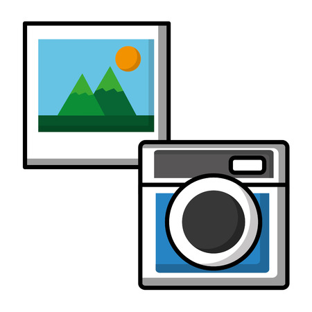 Camera photographic with picture vector illustration design Stok Fotoğraf - 99338032