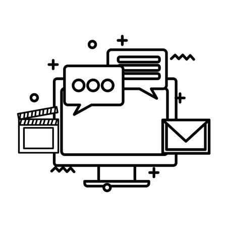 Supervise la tecnología informática con diseño de ilustración de vector de iconos de redes sociales
