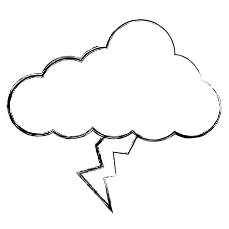Cloud sky with lightning weather vector illustration design Çizim