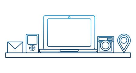 social media computer mp3 camera email gps navigation vector illustration degraded color blue