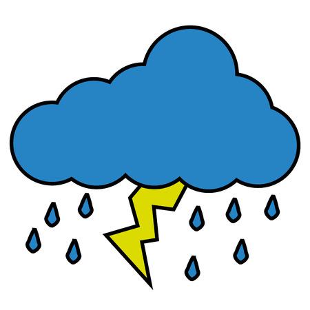 cloud raindrops thunderstorm lightning image vector illustration Illustration