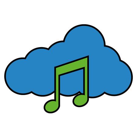cloud storage music note audio social media vector illustration 向量圖像