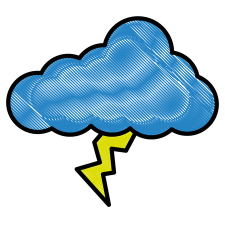 cloud lightning climate icon image vector illustration drawing style