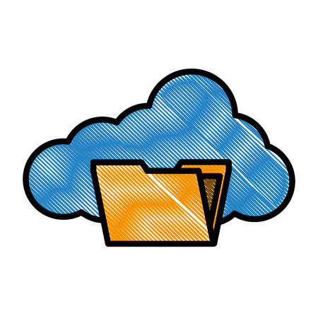 cloud computing storage folder file social media vector illustration drawing style