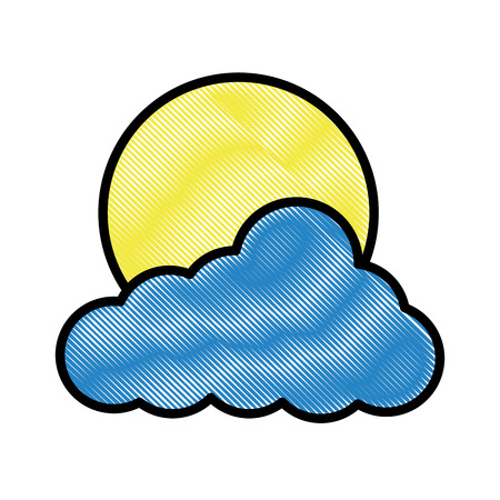 Cloud sun weather day image vector illustration drawing style Illustration