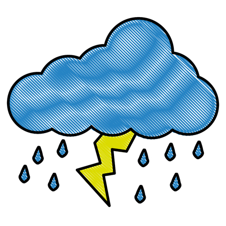 Cloud raindrops thunderstorm lightning image vector illustration drawing style Ilustração