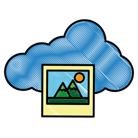 Cloud storage data photos social media vector illustration drawing style