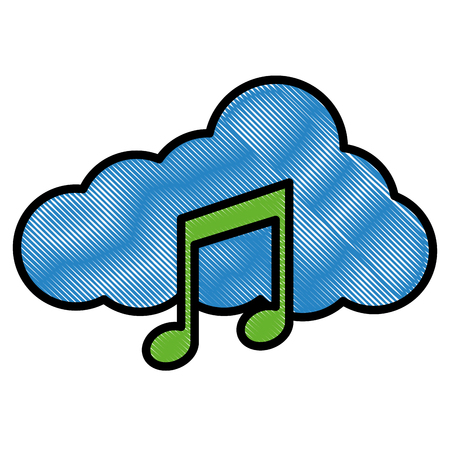 Cloud storage music note audio social media vector illustration drawing style