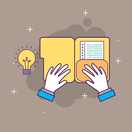 A hand with folder idea innovation start up business vector illustration Illusztráció