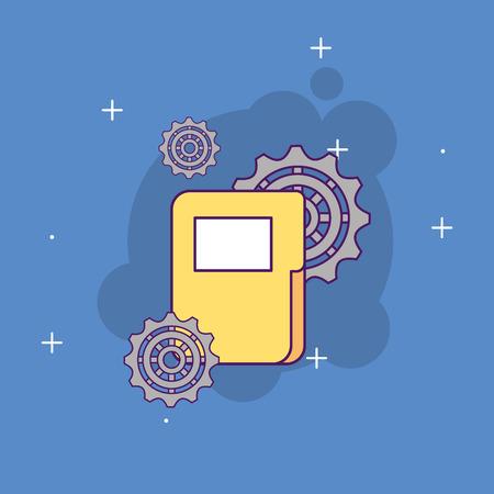 A folder file information gears start up business vector illustration