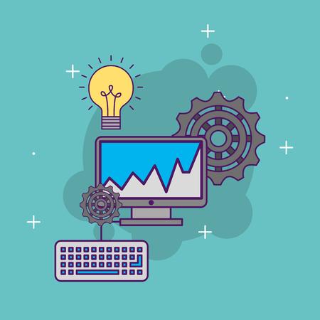 A computer keyboard gear work creativity vector illustration