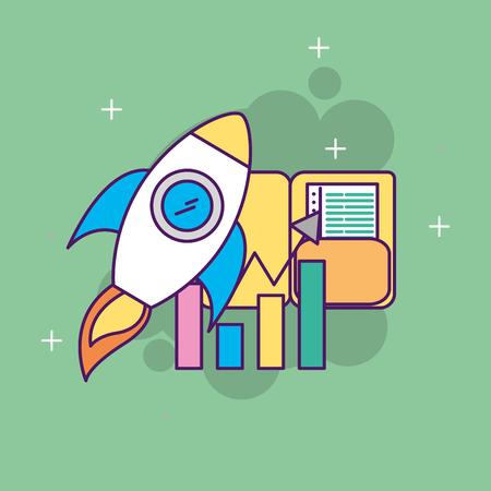 A start up business rocket folder statistics report vector illustration