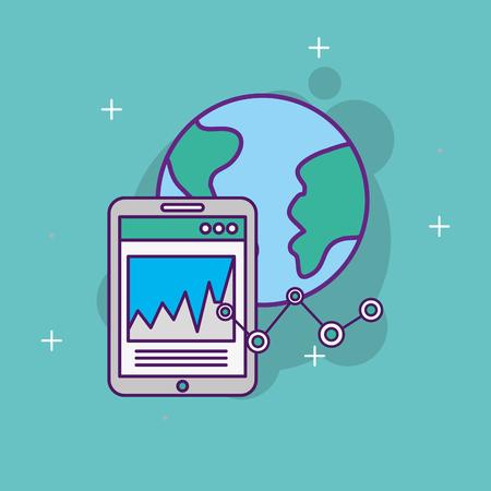 start up business world mobile chart graph vector illustration