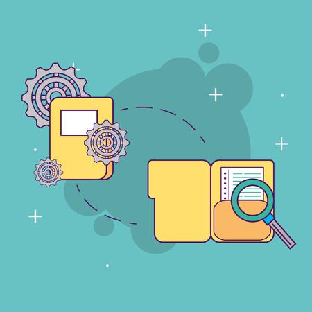 folders file document gears searching start up business vector illustration Illustration