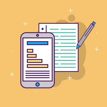 smartphone report information document pen start up business vector illustration