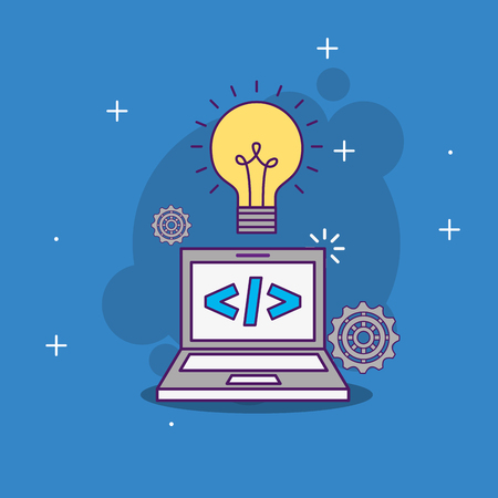 laptop code programming idea work vector illustration Ilustracja