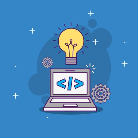 laptop code programming idea work vector illustration Illustration