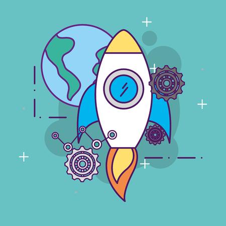 world gears work rocket launch start up business vector illustration Illustration