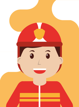 Firefighter in safe helmet and uniform - people workers profession vector illustration Stock Illustratie