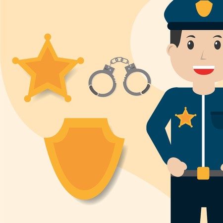 Police officer handcuffs badge and star insignia vector illustration