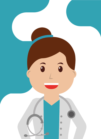 Doctor woman in coat with stethoscope worker professional vector illustration