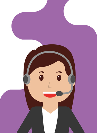 Operator woman call center with headset worker profession vector illustration