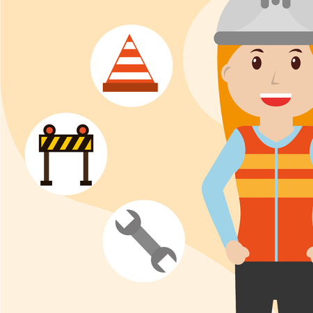 Construction woman in vest uniform with barrier wrench and cone traffic vector illustration Illustration