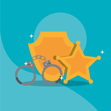 Police handcuffs star sheriff and badge insignia vector illustration