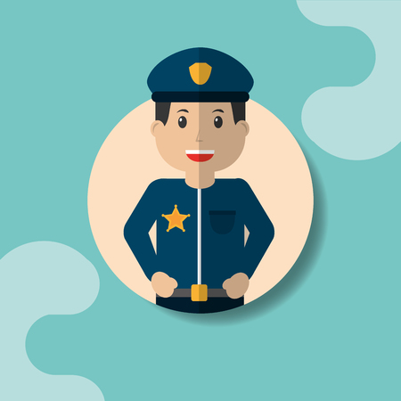 Worker police man professional portrait vector illustration