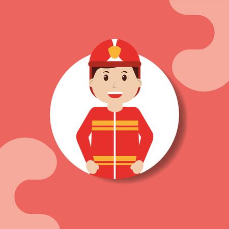 Worker firefighter in safe helmet professional portrait vector illustration
