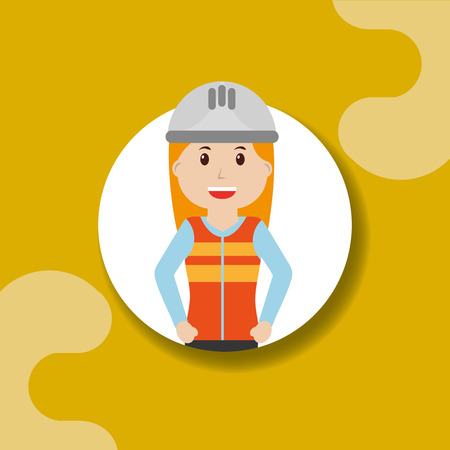 Worker construction woman in vest uniform professional portrait vector illustration Illustration