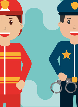 Firefighter and policeman officer people workers profession vector illustration