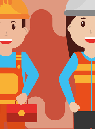 Woman and man construction repair people workers profession vector illustration