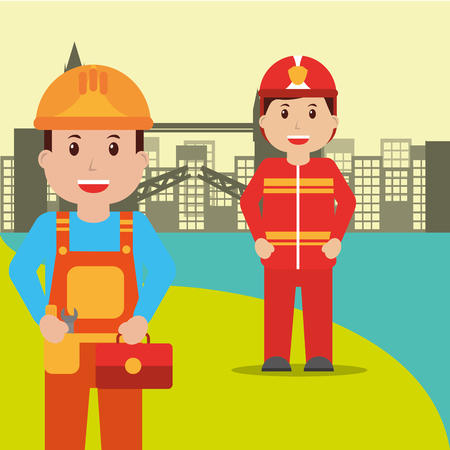 Repairman and firefighter people workers profession occupation urban background vector illustration