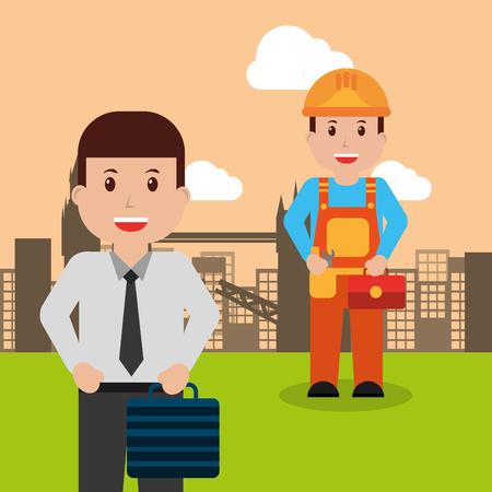 修理屋やビジネスマンの人々労働者職業職業都市背景ベクトルイラスト  イラスト・ベクター素材