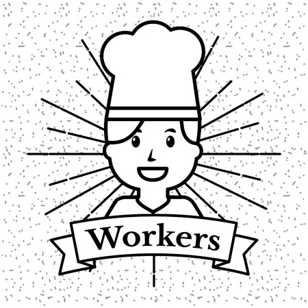 Chef woman workers grunge style sunburst background vector illustration