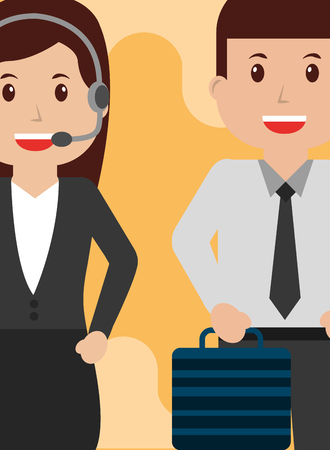 Operator woman and business man people workers characters vector illustration Illustration
