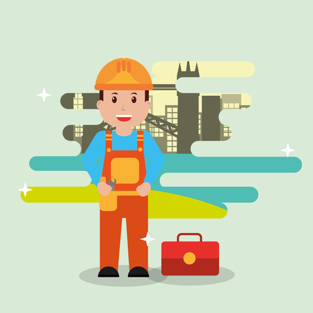 Repairman with toolbox equipment - people workers profession vector illustration