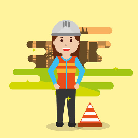 Woman builder construction cone warning people workers profession vector illustration