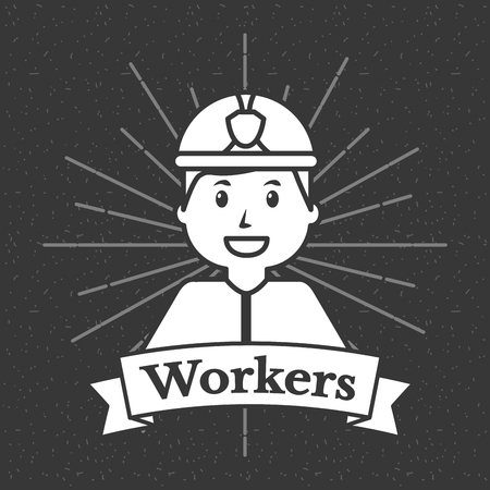 Firefighter workers grunge style sunburst background vector illustration