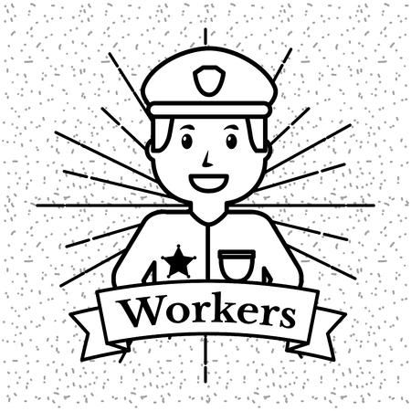 Travailleurs personnes travailleurs grunge fond de style vecteur sunburst illustration Banque d'images - 99339742