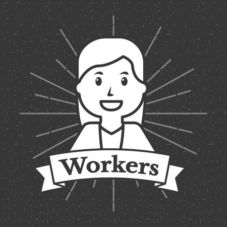 Woman construction people workers grunge style sunburst background vector illustration